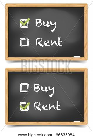 detailed illustration of different checkboxes with buy or rent options on a blackboard, eps10 vector, gradient mesh included