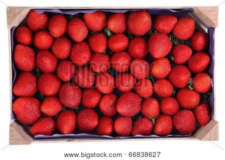 Perishable Product, Wooden Tray With Strawberries