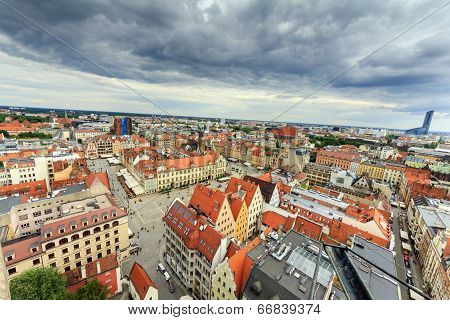 Extremely Wide Angle Photo Of Wroclaw Center, Poland