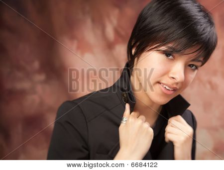 Multi ethnic Girl Poses For Portrait