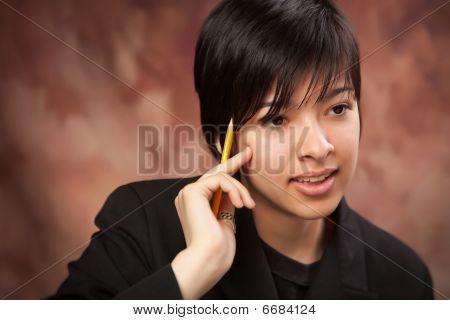 Multi ethnic Girl Talking During Portrait.