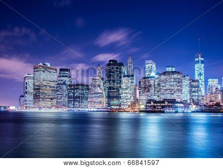 Night panorama of Manhattan in New York, USA