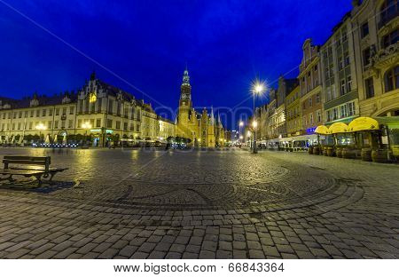 Night Photo Of Beautiful Historical City Hall In Wroclaw, Poland