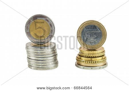 Stack Of Polish Zloty And Euro Coins