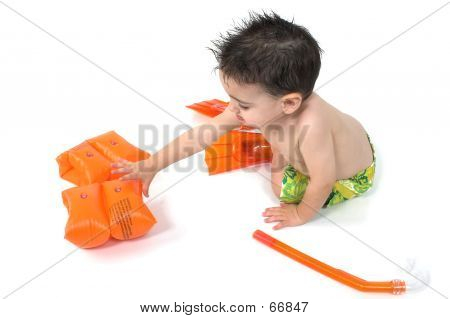 Baby Boy Snorkler Over White
