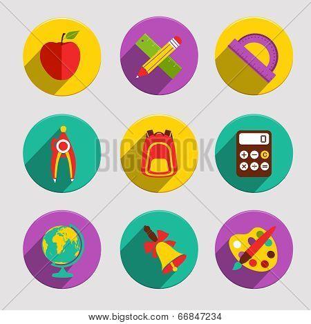 Flat School Icons Set