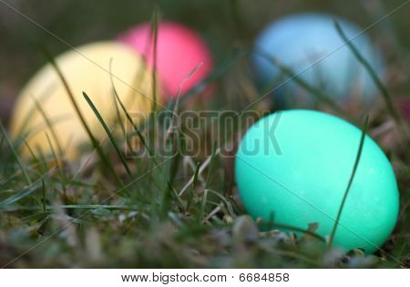 Four Easter eggs in the grass