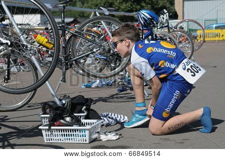 Young triathlete in the transition area