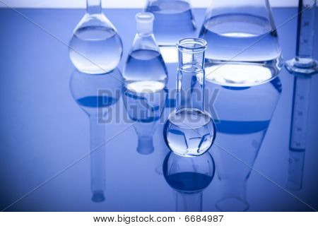 Labolatory Glassware in Blue