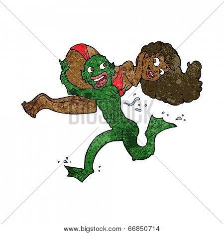 cartoon swamp monster carrying girl in bikini