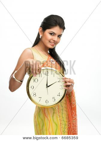Indian model with a beautiful clock