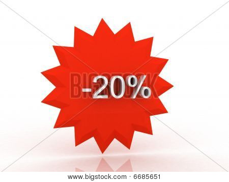 Discount Label Over White Background