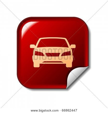 Car icon on red sticker