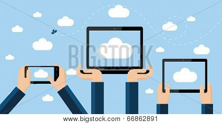 Cloud computing concept. Hands holding smartphone, computer laptop and tablet with cloud image on screen high against the sky.
