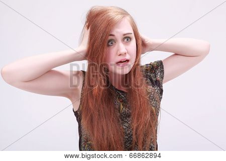 Female model looking frustrated
