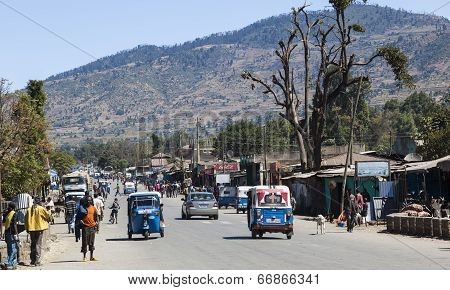 Main Street Of Small Provincial Town. Hirna. Ethiopia.