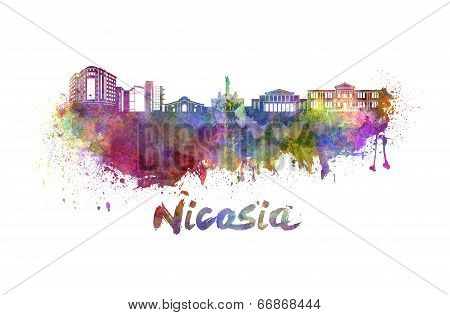 Nicosia Skyline In Watercolor