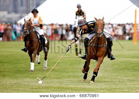 JERSEY CITY, NJ-MAY 31: Hilario Figueras (R) in action during the polo match at the 7th Annual Veuve Cliquot Polo Classic at Liberty State Park on May 31, 2014 in Jersey City, NJ.