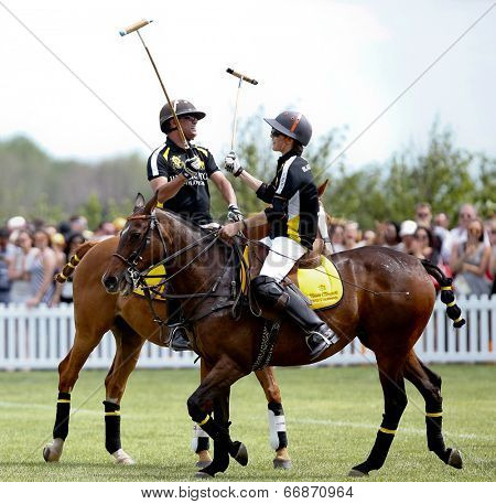 JERSEY CITY, NJ-MAY 31: Hilario Figueras (R) and Bash Kazi click mallets during the polo match at the 7th Annual Veuve Cliquot Polo Classic at Liberty State Park on May 31, 2014 in Jersey City, NJ.