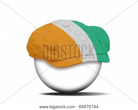 Fashion Hat On White With The Flag Of Ivory Coast