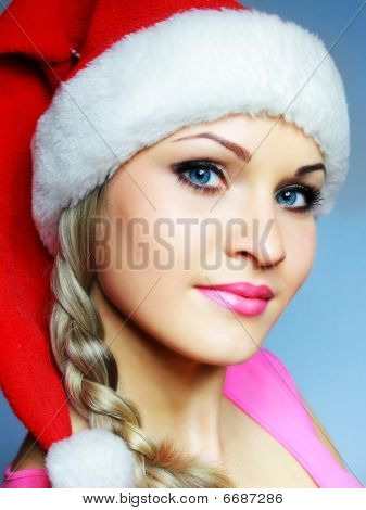 Beautiful Blonde In Red Hubcap