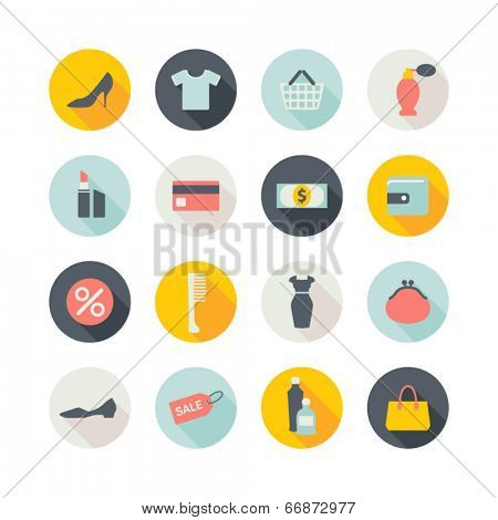 set of round shopping icons with shadows