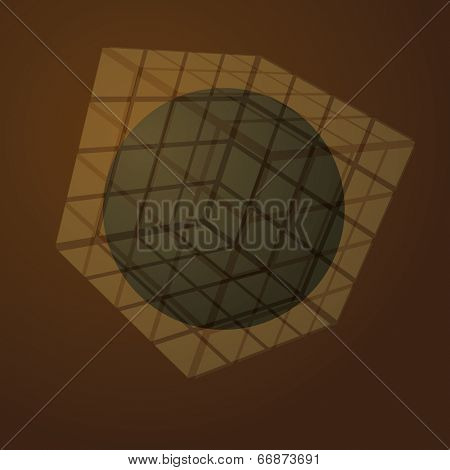 3D Transparent Cubic Puzzle Box With Globe Inside