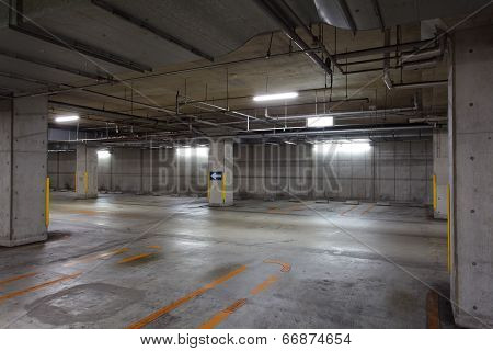 Empty Space in a indoor Parking Lot