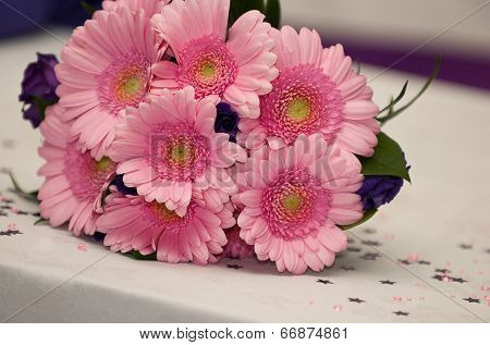 Pink Wedding flowers on a table