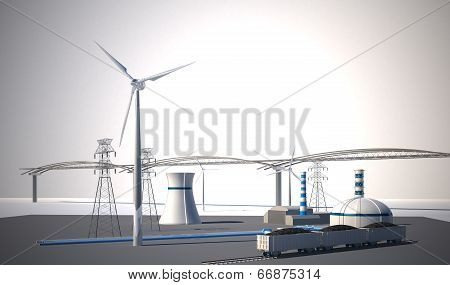Nuclear Power Station  - 3d Illustration