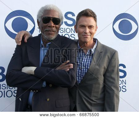 LOS ANGELES - MAY 19:  Morgan Freeman, Tim Daly at the CBS Summer Soiree at the London Hotel on May 19, 2014 in West Hollywood, CA