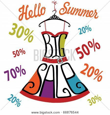 Silhouette Of Dress  From Words,percent Sign.big Sale