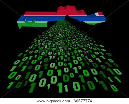 The Gambia map flag with binary foreground illustration