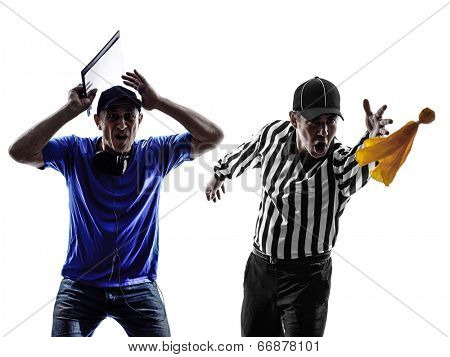 american football referee and coach conflict dispute in silhouette on white background