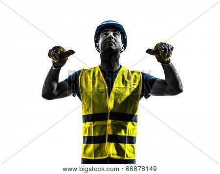 one construction worker signaling with safety vest retract boom silhouette isolated in white background