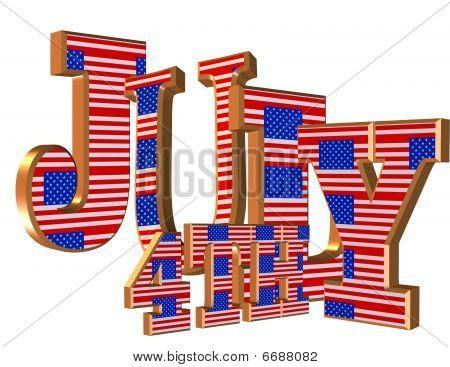 4th of July 3D text