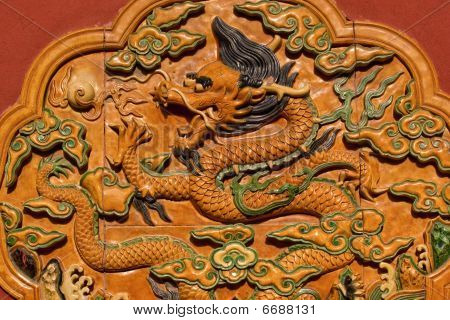 Dragon Ceramic Decoration Yellow Wall Forbidden City Beijing