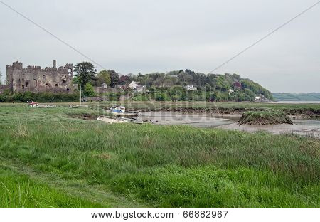 Laugharne estuary and castle
