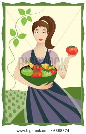Happy Vegetable Garden Lady