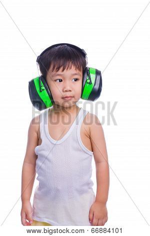 Boy In A White Singlet Wearing Earmuffs