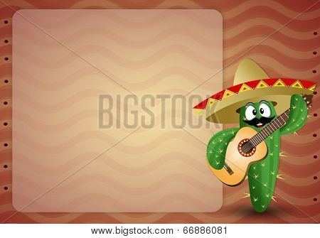 Cactus With Sombrero And Guitar