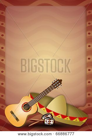 Guitar With Sombrero And Maracas