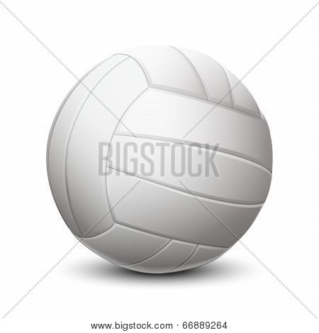 White Volleyball Ball Isolated On White Background. Vector Illustration