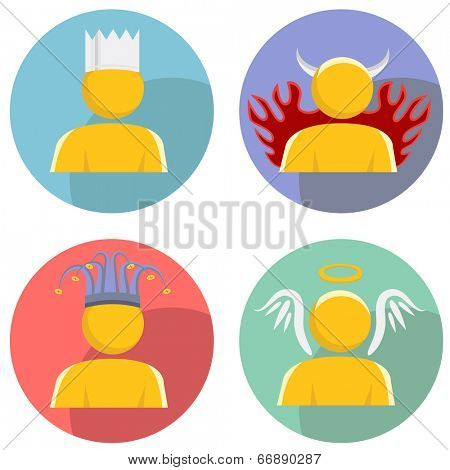 An image of a set of people wearing personality hats.