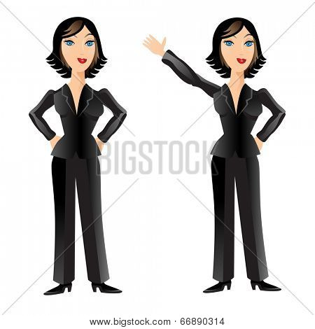 An image of a business woman posing and waving.