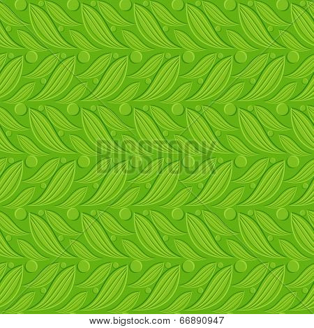 Green Floral Embossed Seamless