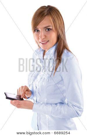 Beautiful business woman holding a phone