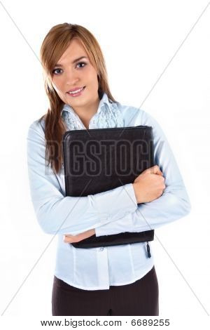 Beautiful business woman holding a briefcase
