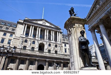 Bank Of England, City Of London War Memorial And The Royal Exchange