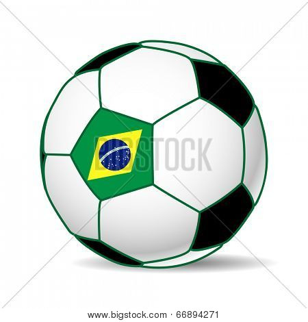 Illustration of a soccer ball with the flag of Brazil. Futboll